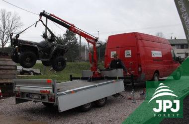 Manipulační hydraulický jeřáb Maxilift ML 150 a nákaldní přívěs Vezeko